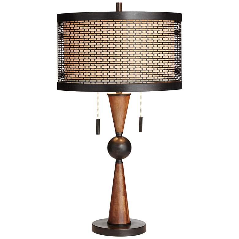 Hunter Bronze and Cherry Wood Table Lamp with Table Top Dimmer