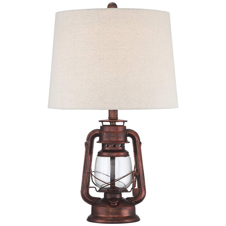 Murphy Red Bronze Miner Lantern Table Lamp with Table Top Dimmer