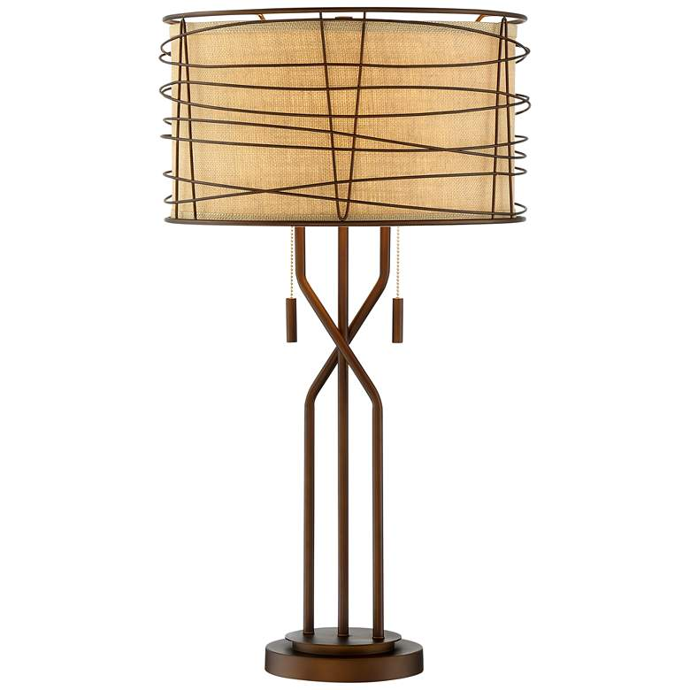 Marlowe Bronze Woven Metal Table Lamp with Table Top Dimmer