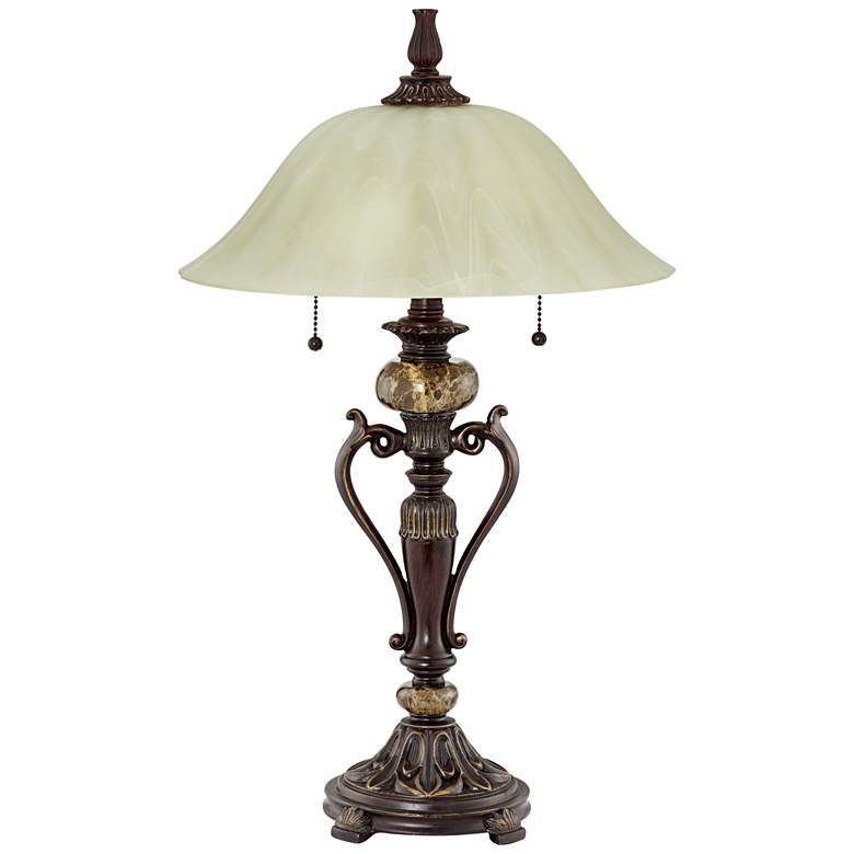 Amor Bronze Glass Shade Accent Table Lamp with Table Top Dimmer