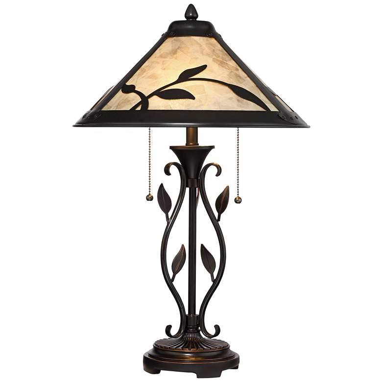 Feuille Leaf and Vine Mica Shade Lamp with Table Top Dimmer