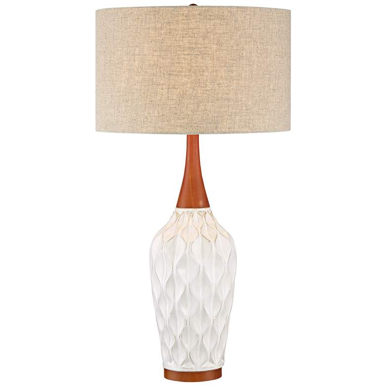 Rocco White Ceramic Mid-Century Table Lamp with Table Top Dimmer