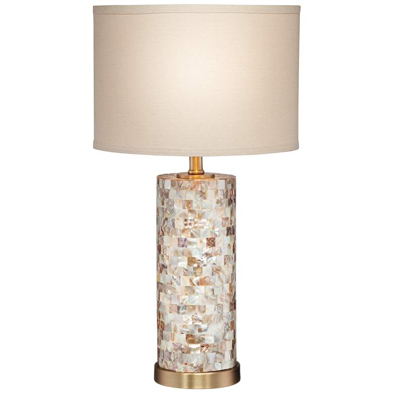 Margaret Mother of Pearl Cylinder Lamp with Table Top Dimmer