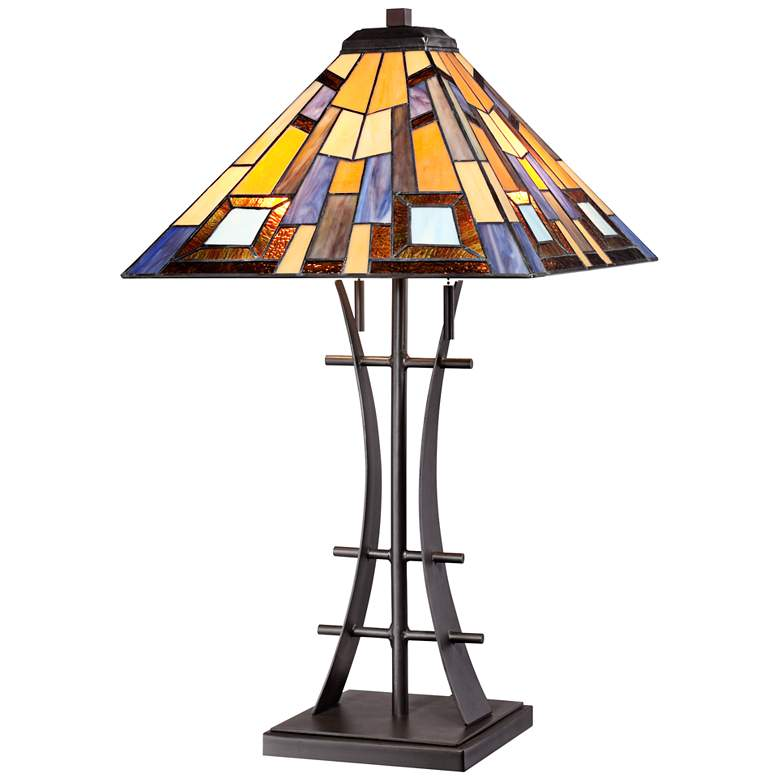 Jewel Tone Tiffany Style Art Glass Lamp with Table Top Dimmer