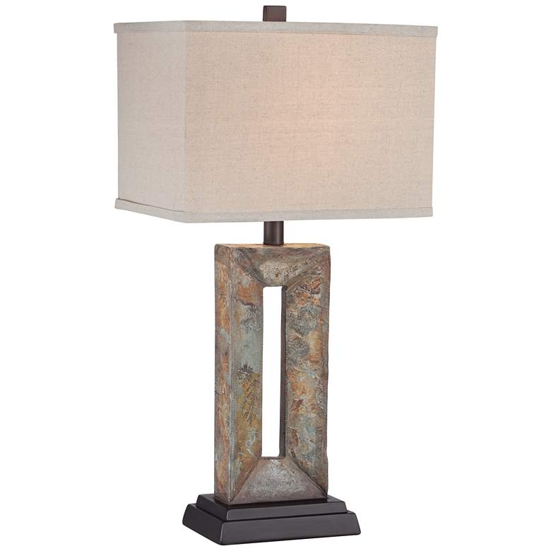 Tahoe Small Rectangular Slate Table Lamp with Table Top Dimmer