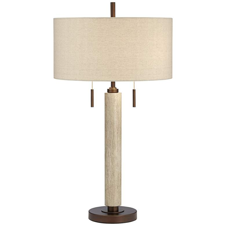 Hugo Wood Column USB Table Lamp with Table Top Dimmer