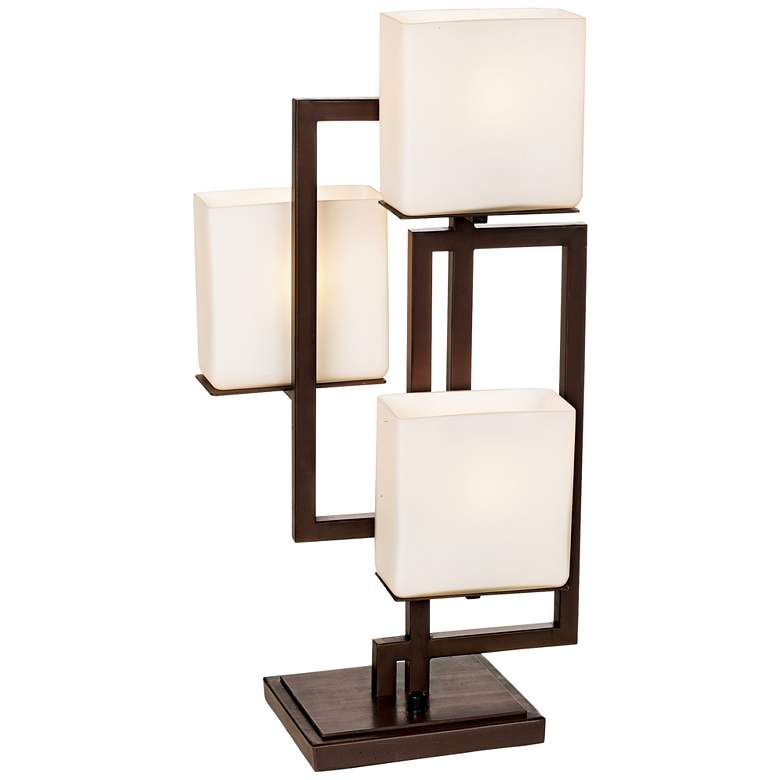 Lighting on the Square Bronze Accent Lamp with Table Top Dimmer