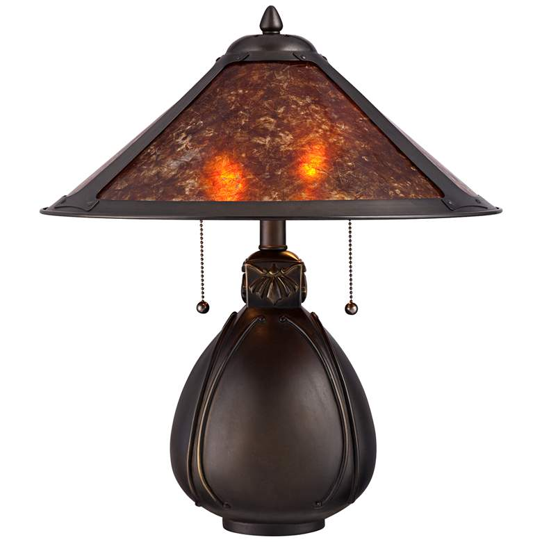 Nell Arts and Crafts Pottery Mica Shade Lamp w/ Table Top Dimmer