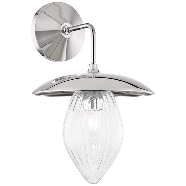 """Mitzi Lana 13 1/2""""H Polished Nickel Clear Glass Wall Sconce"""