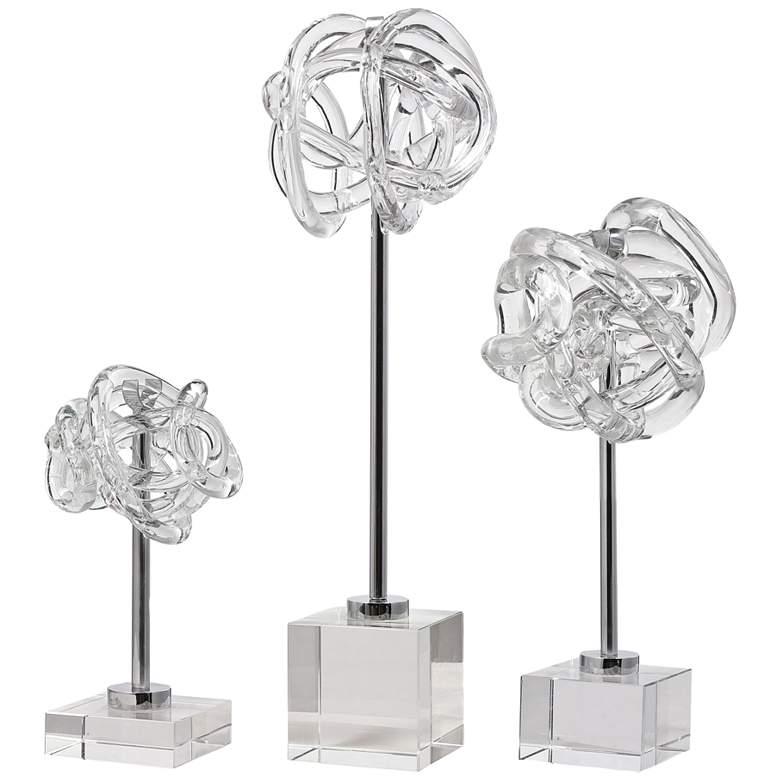 Uttermost Clear Glass Knot Neuron Sculptures Set of 3