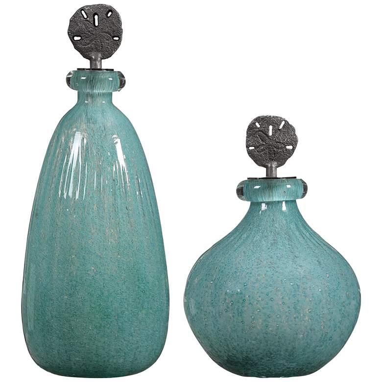 Uttermost Mellita Aqua Blue Art Glass Bottles Set of 2
