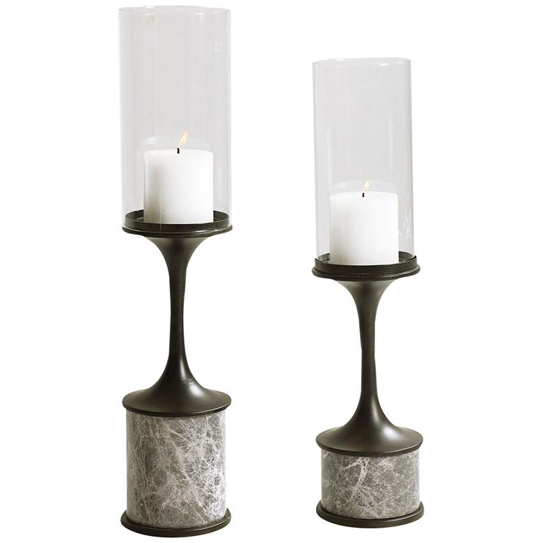 Deane Gunmetal and White Pillar Candle Holders Set of 2