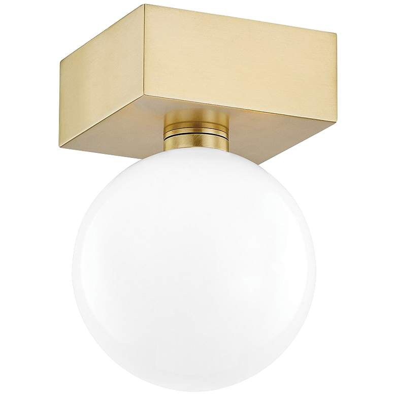 "Mitzi Aspyn 5 1/4"" Wide Aged Brass LED Ceiling Light"