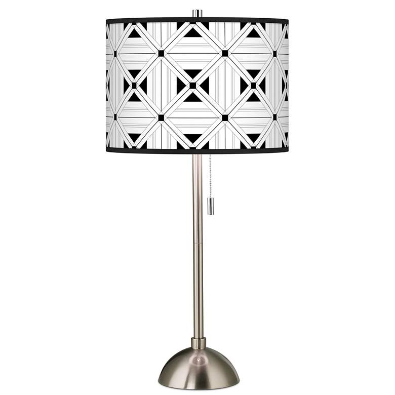 Quadrille Giclee Brushed Nickel Table Lamp