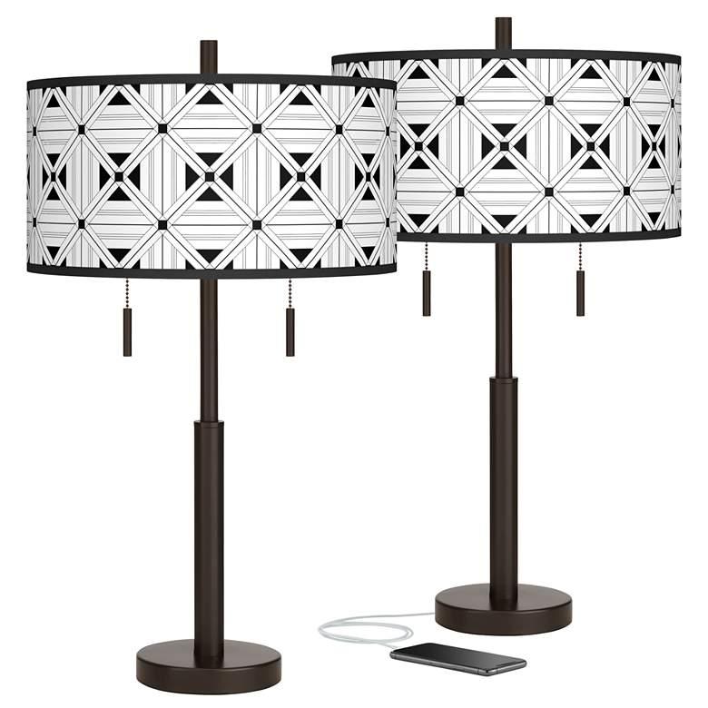 Quadrille Robbie Bronze USB Table Lamps Set of 2