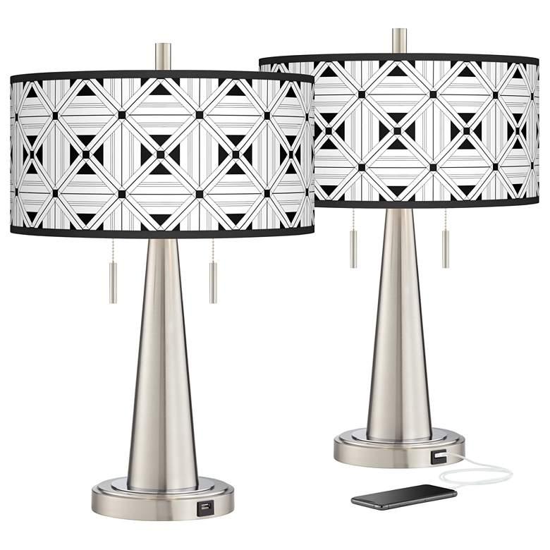 Quadrille Vicki Brushed Nickel USB Table Lamps Set of 2