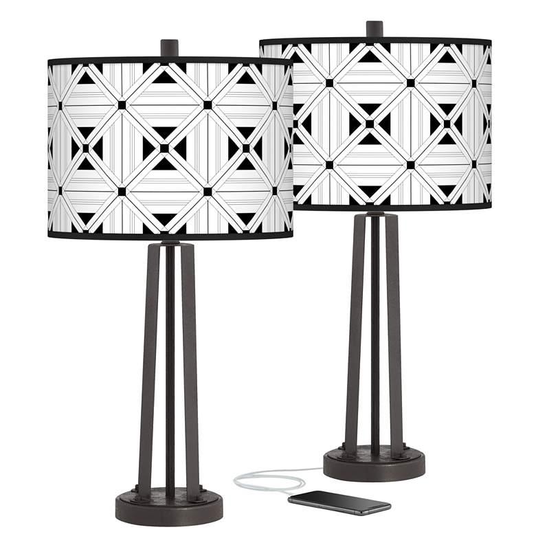 Quadrille Susan Dark Bronze USB Table Lamps Set of 2