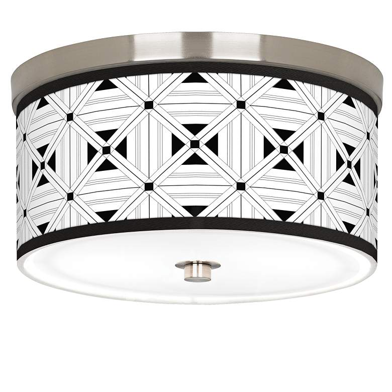 """Quadrille Giclee Nickel 10 1/4"""" Wide Ceiling Light"""