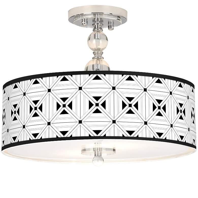 """Quadrille Giclee 16"""" Wide Semi-Flush Ceiling Light"""