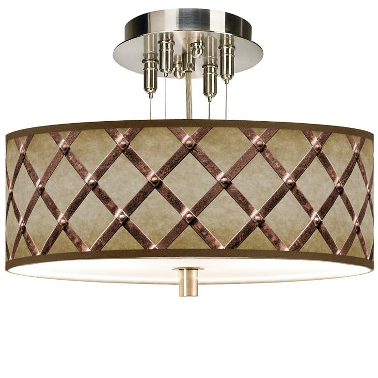 """Metal Weave Giclee 14"""" Wide Ceiling Light"""
