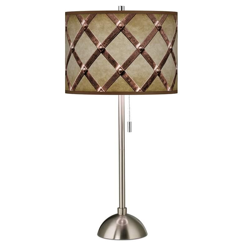Metal Weave Giclee Brushed Nickel Table Lamp