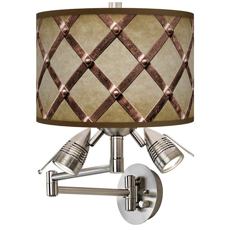 Metal Weave Giclee Plug-In Swing Arm Wall Lamp