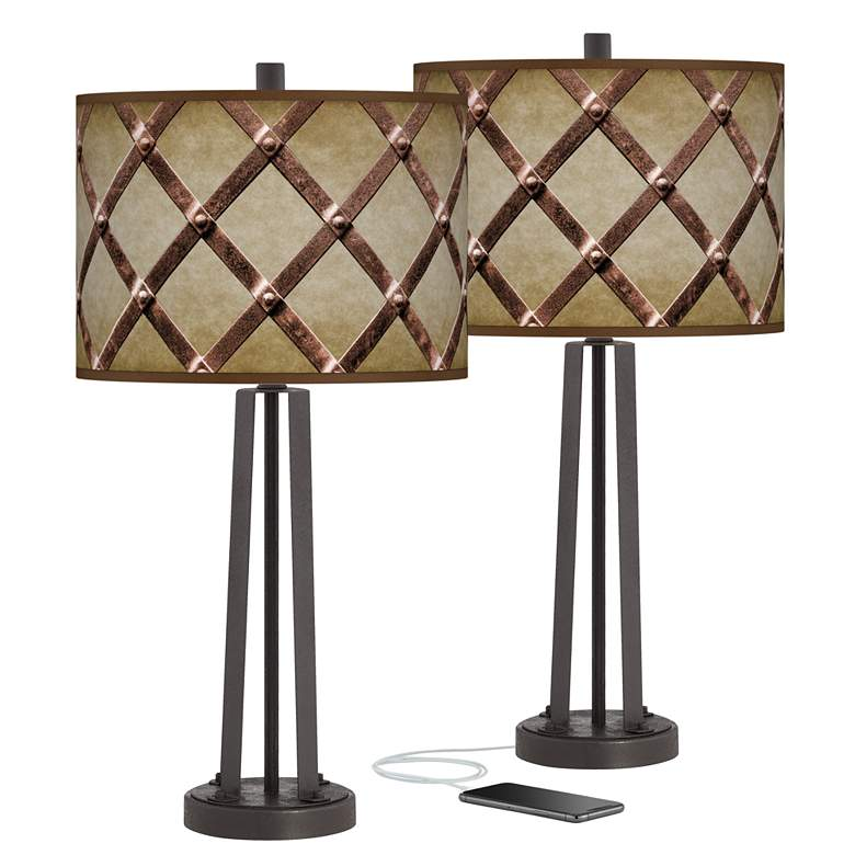 Metal Weave Susan Dark Bronze USB Table Lamps Set of 2
