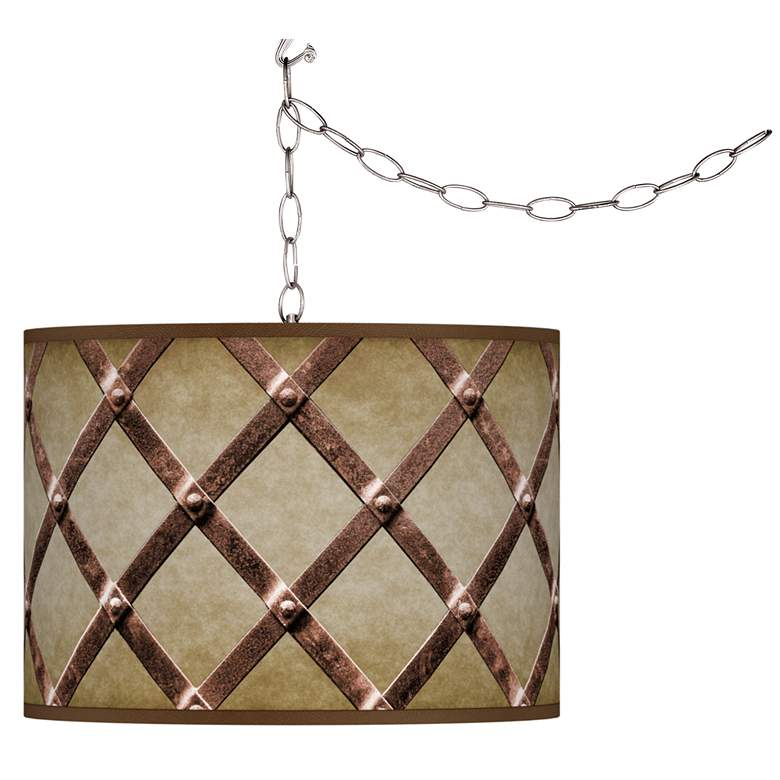 Swag Style Metal Weave Giclee Shade Plug-In Chandelier
