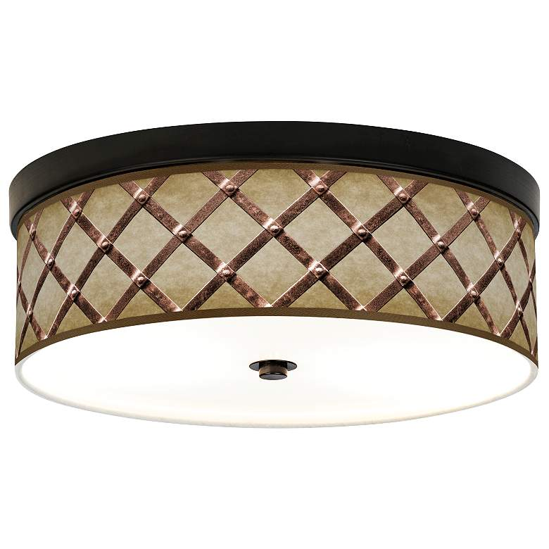 Metal Weave Giclee Energy Efficient Bronze Ceiling Light