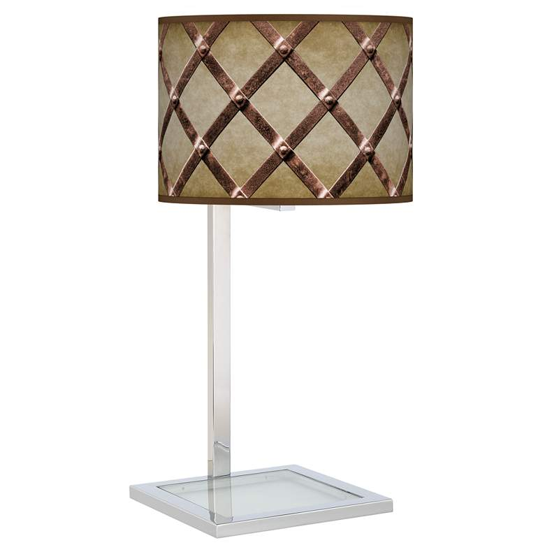Metal Weave Glass Inset Table Lamp