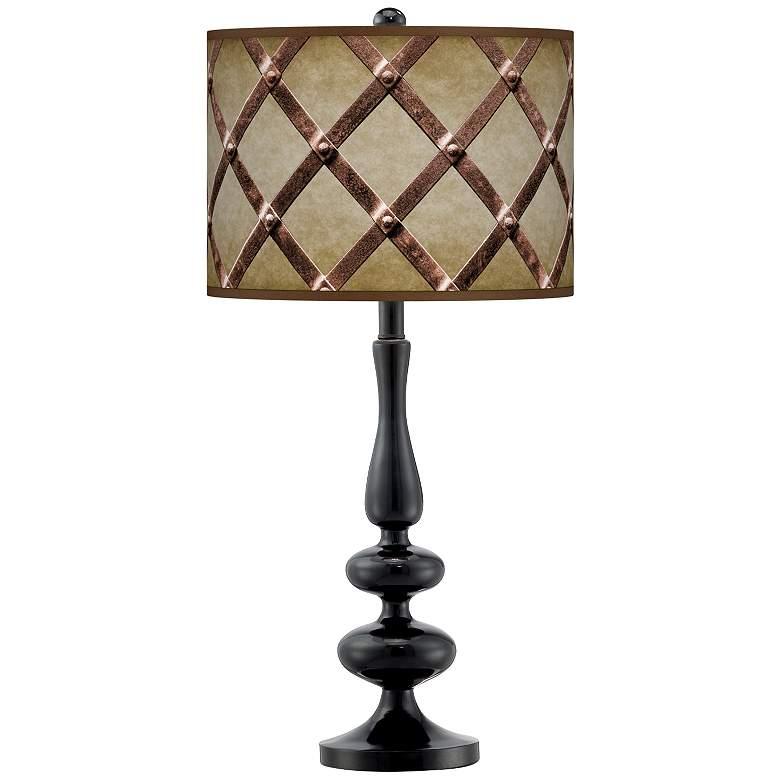 Metal Weave Giclee Paley Black Table Lamp
