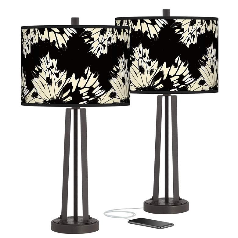 Wings Susan Dark Bronze USB Table Lamps Set of 2
