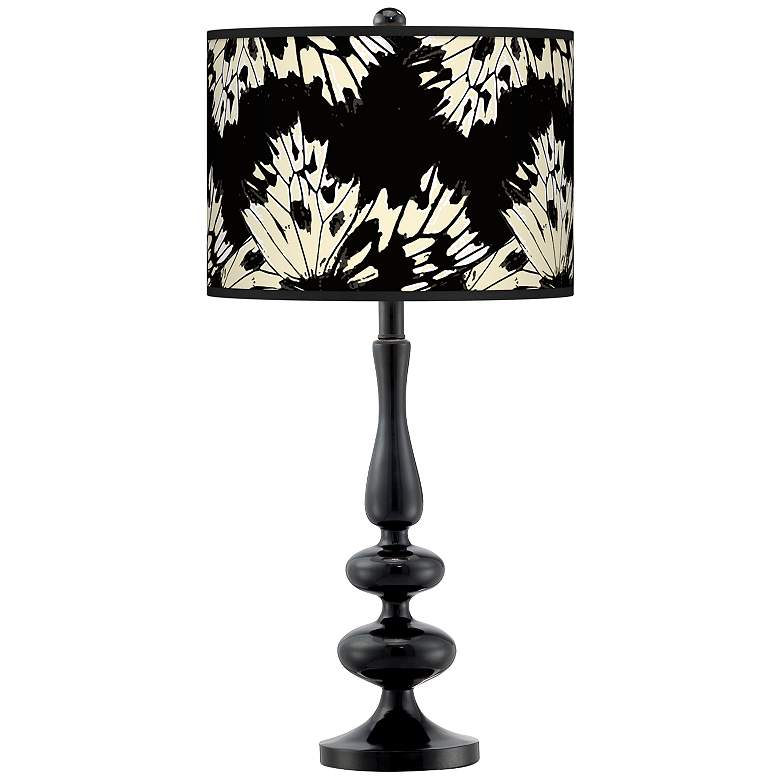 Wings Giclee Paley Black Table Lamp