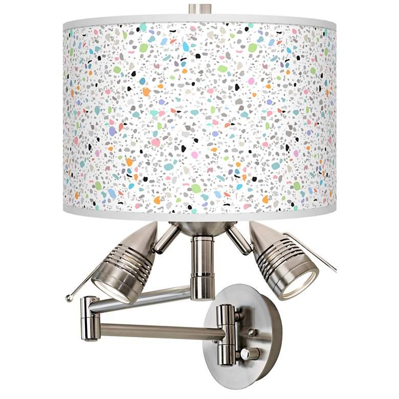 Colored Terrazzo Giclee Plug-In Swing Arm Wall Lamp
