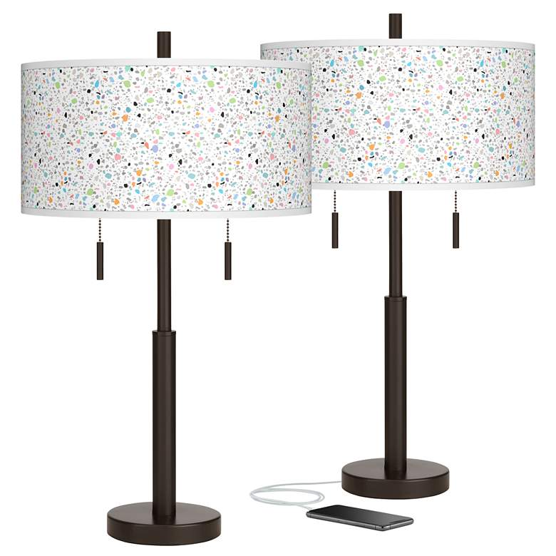 Colored Terrazzo Robbie Bronze USB Table Lamps Set of 2