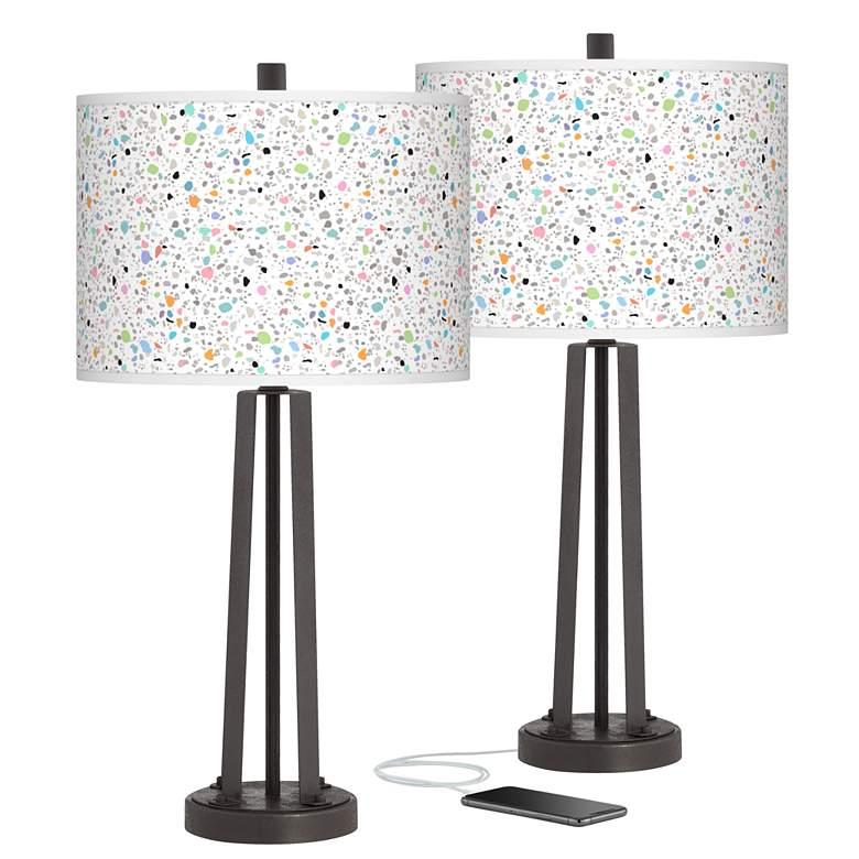 Colored Terrazzo Susan Dark Bronze USB Table Lamps Set of 2