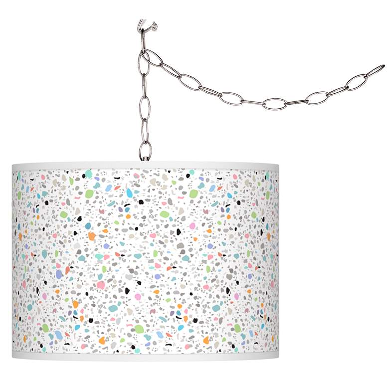 Swag Style Colored Terrazzo Giclee Shade Plug-In Chandelier