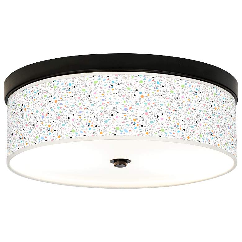 Colored Terrazzo Giclee Energy Efficient Bronze Ceiling Light
