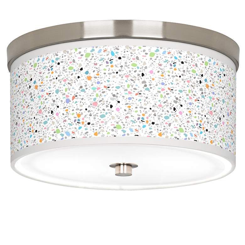 """Colored Terrazzo Giclee Nickel 10 1/4"""" Wide Ceiling Light"""