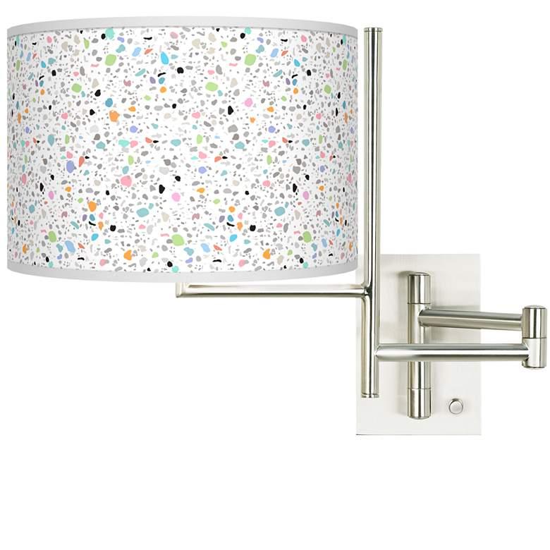 Tempo Colored Terrazzo Plug-in Swing Arm Wall Lamp