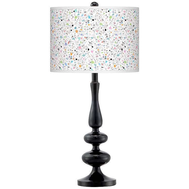 Colored Terrazzo Giclee Paley Black Table Lamp