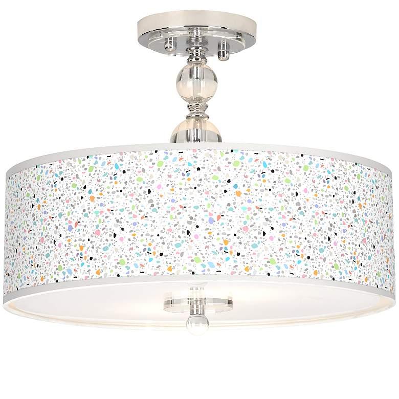 """Colored Terrazzo Giclee 16"""" Wide Semi-Flush Ceiling Light"""