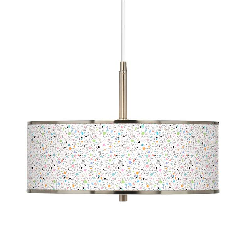 "Colored Terrazzo Giclee Glow 16"" Wide Pendant Light"