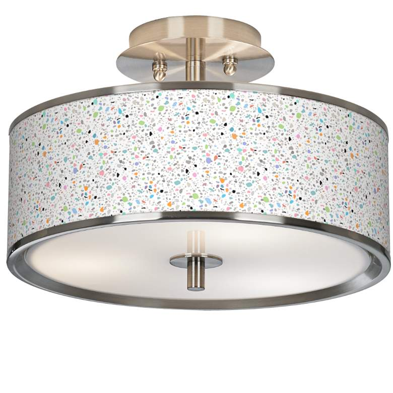 """Colored Terrazzo Giclee Glow 14"""" Wide Ceiling Light"""