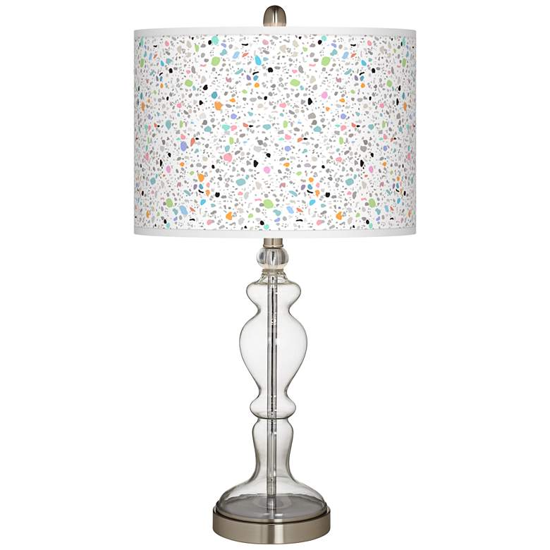 Colored Terrazzo Giclee Apothecary Clear Glass Table Lamp