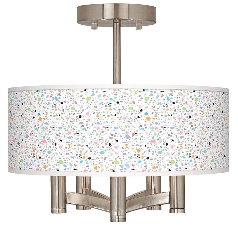 Colored Terrazzo Ava 5-Light Nickel Ceiling Light
