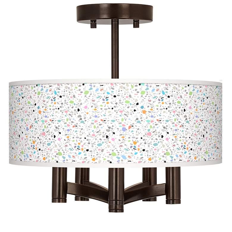 Colored Terrazzo Ava 5-Light Bronze Ceiling Light