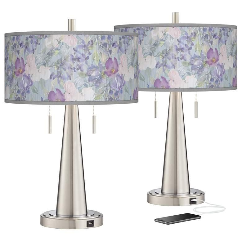 Spring Flowers Vicki Brushed Nickel USB Table Lamps Set of 2
