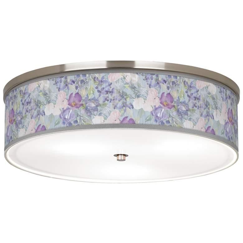 "Spring Flowers Giclee Nickel 20 1/4"" Wide Ceiling Light"