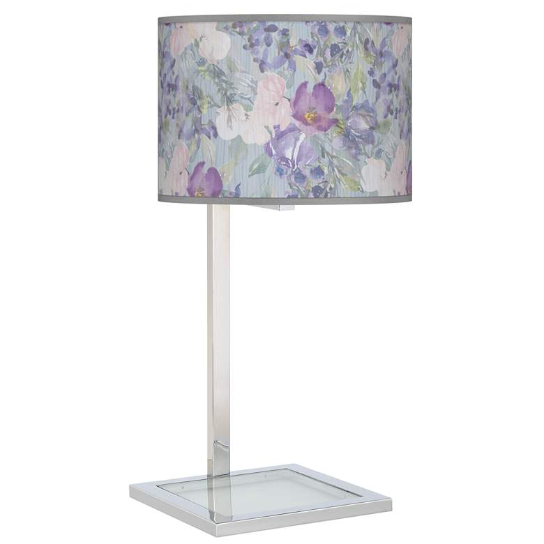 Spring Flowers Glass Inset Table Lamp